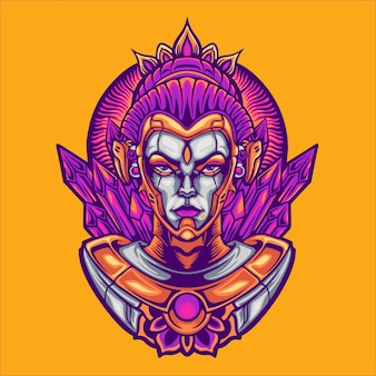 Ilustração de personagem deusa ciborgue