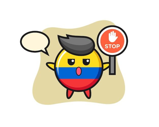 Ilustração de personagem distintivo da bandeira da colômbia segurando uma placa de pare, design de estilo fofo para camiseta, adesivo, elemento de logotipo