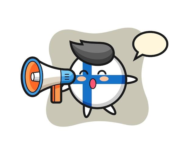 Ilustração de personagem distintivo da bandeira da finlândia segurando um megafone, design de estilo fofo para camiseta, adesivo, elemento de logotipo