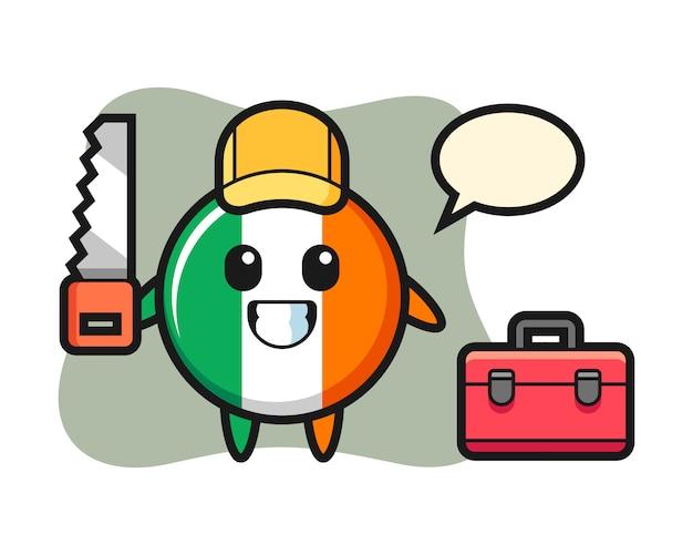 Ilustração de personagem distintivo da bandeira da irlanda como marceneiro