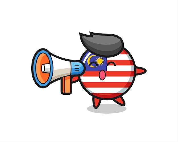 Ilustração de personagem distintivo de bandeira da malásia segurando um megafone, design de estilo fofo para camiseta, adesivo, elemento de logotipo
