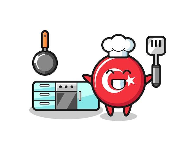 Ilustração de personagem distintivo de bandeira de turquia enquanto um chef está cozinhando, design de estilo fofo para camiseta, adesivo, elemento de logotipo