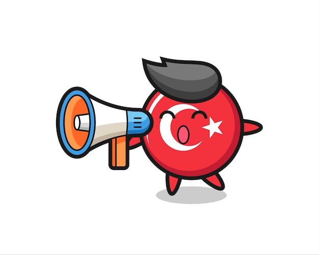 Ilustração de personagem distintivo de bandeira de turquia segurando um megafone, design de estilo fofo para camiseta, adesivo, elemento de logotipo