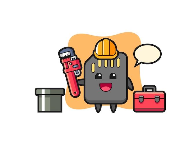 Ilustração de personagem do cartão sd como encanador, design de estilo bonito para camiseta