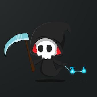 Ilustração de personagem do ceifador crânio. vetor livre