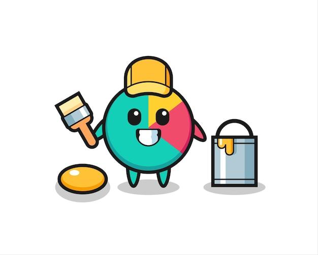 Ilustração de personagem do gráfico como um pintor, design de estilo fofo para camiseta, adesivo, elemento de logotipo