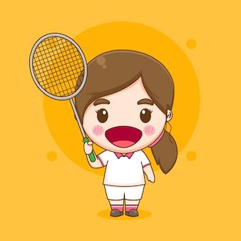 Ilustração de personagem do jogador de badminton de garota fofa