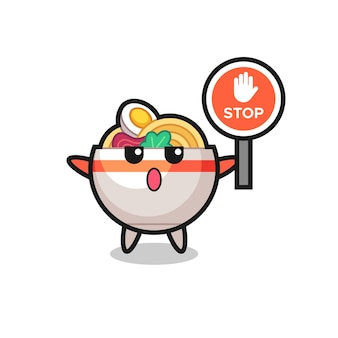 Ilustração de personagem em tigela de macarrão segurando uma placa de pare, design de estilo fofo para camiseta, adesivo, elemento de logotipo