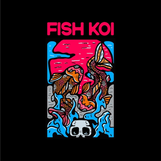 Ilustração de personagem fish koi estilo japonês