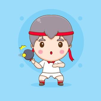 Ilustração de personagem fofa do jogador de tênis de mesa