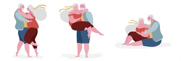 Ilustração de personagem gorda casal sênior