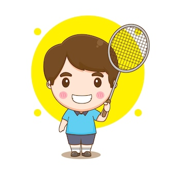 Ilustração de personagem jogador de badminton bot fofo