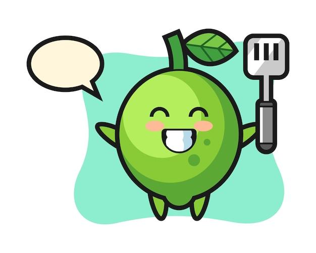 Ilustração de personagem limão enquanto o chef está cozinhando, estilo fofo, adesivo, elemento de logotipo