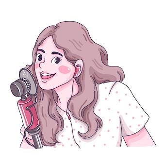 Ilustração de personagem linda garota