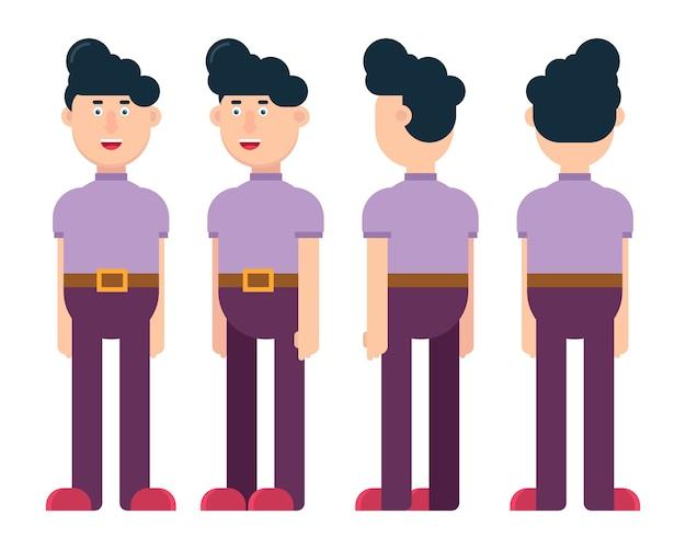 Ilustração de personagem masculino plano em posições diferentes