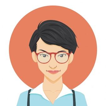 Ilustração de personagem nerd menina