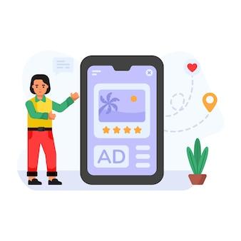Ilustração de personagem plana de feedback online de revisão de anúncio