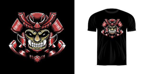 Ilustração de personagem samurai para design de camisetas