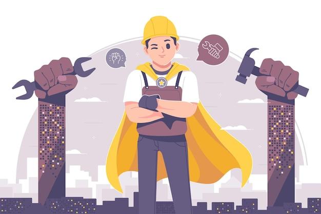 Ilustração de personagem super engenheiro