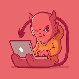 Ilustração de personagem tech devil.