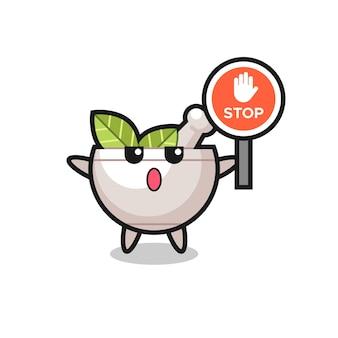 Ilustração de personagem tigela de ervas segurando uma placa de pare, design de estilo fofo para camiseta, adesivo, elemento de logotipo