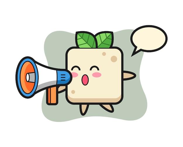 Ilustração de personagem tofu segurando um megafone, design de estilo bonito para camiseta