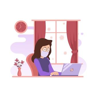 Ilustração de personagem trabalhando no computador em casa para prevenção do vírus corona