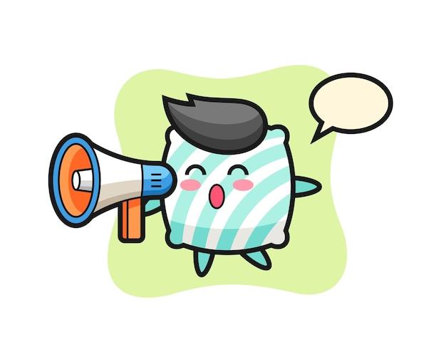 Ilustração de personagem travesseiro segurando um megafone, design de estilo fofo para camiseta, adesivo, elemento de logotipo