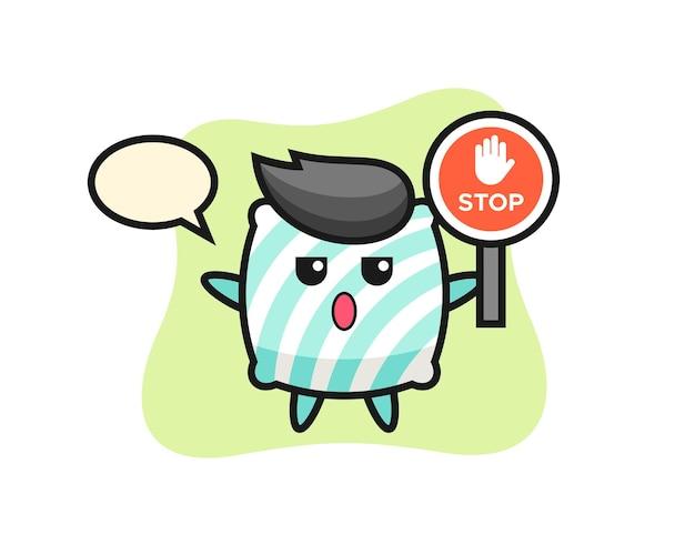 Ilustração de personagem travesseiro segurando uma placa de pare, design de estilo fofo para camiseta, adesivo, elemento de logotipo