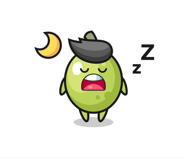 Ilustração de personagem verde-oliva dormindo à noite, design de estilo fofo para camiseta, adesivo, elemento de logotipo
