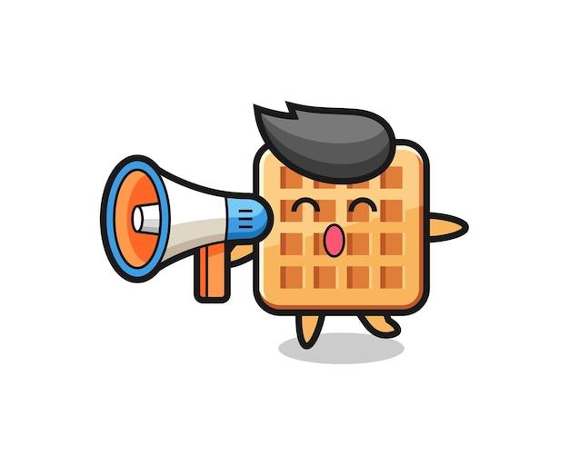 Ilustração de personagem waffle segurando um megafone, design fofo