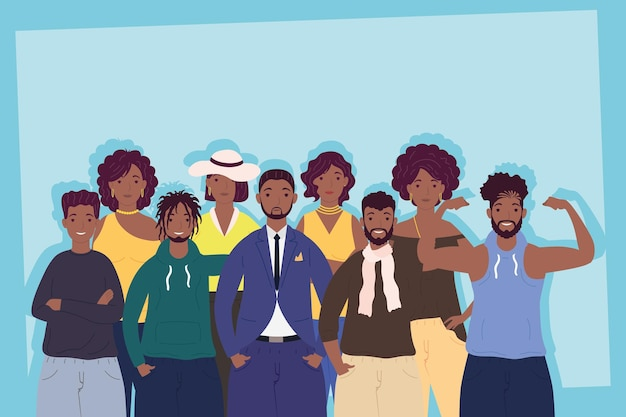 Ilustração de personagens afro com grupo de nove pessoas