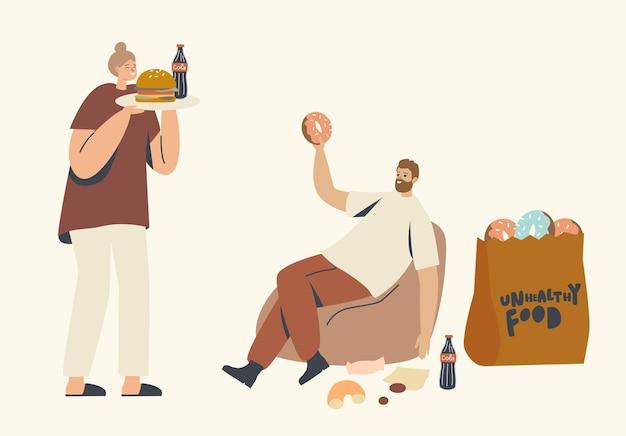 Ilustração de personagens com alimentação insalubre, mau hábito