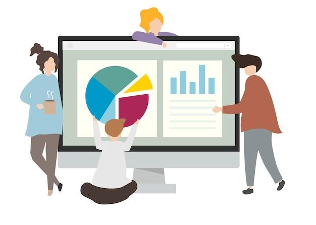 Ilustração de personagens com gráficos de negócios
