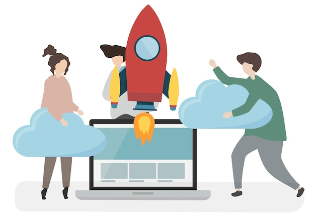 Ilustração de personagens com o conceito de tecnologia