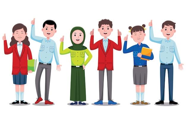 Ilustração de personagens de alunos