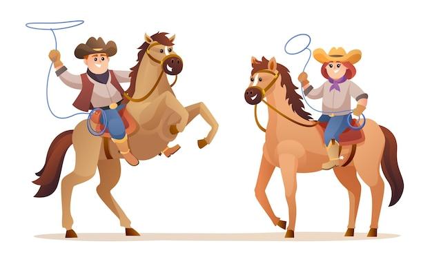 Ilustração de personagens de animais selvagens cowboy fofo e cowgirl cavalgando