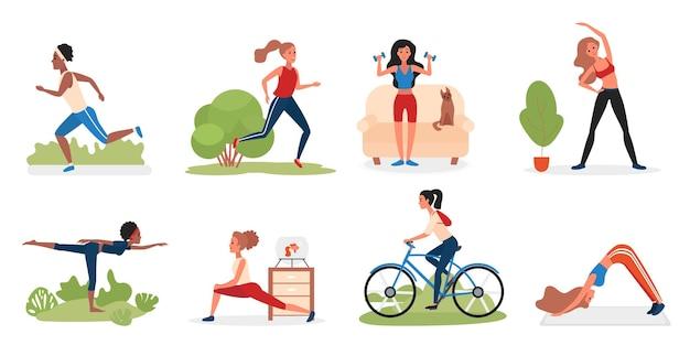 Ilustração de personagens de atividades esportivas