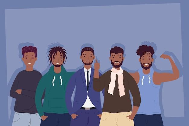 Ilustração de personagens de avatares de jovens homens afro