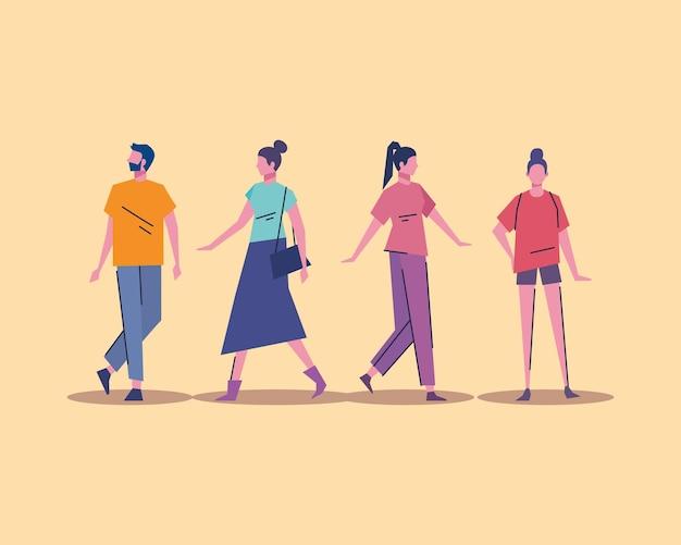 Ilustração de personagens de avatares do grupo de jovens