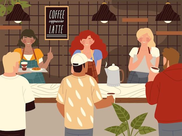 Ilustração de personagens de cafeterias e clientes de cafeterias