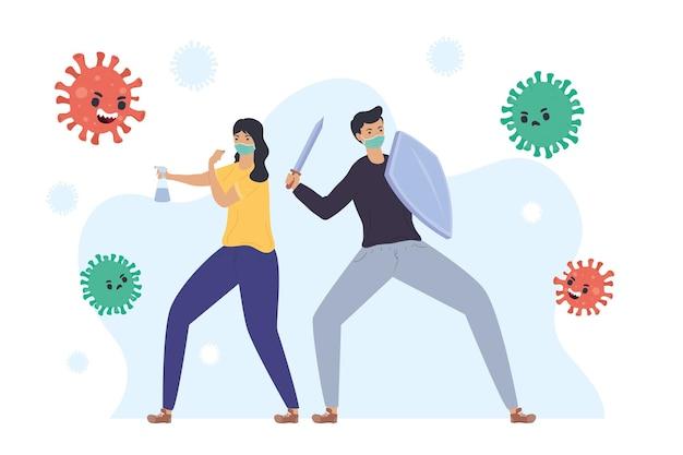 Ilustração de personagens de casal lutando contra partículas