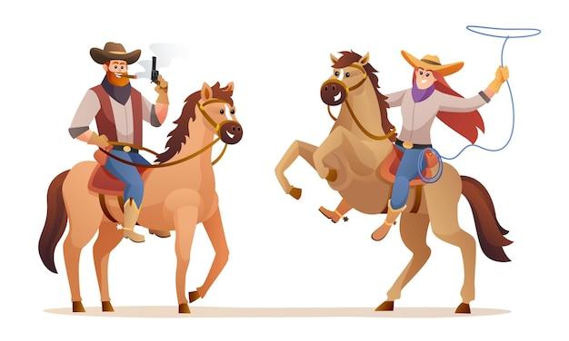 Ilustração de personagens de cowboy e cowgirl cavalgando sobre vida selvagem