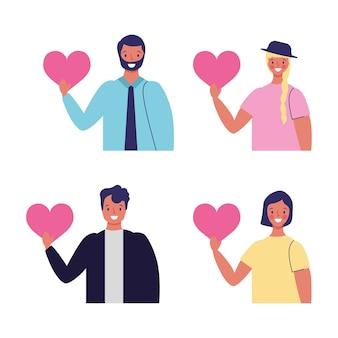 Ilustração de personagens de desenhos animados com corações em suas mãos