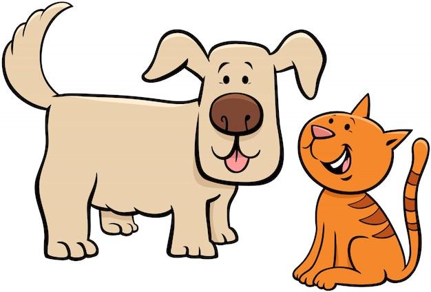 Ilustração de personagens de desenhos animados de cachorro e gatinho