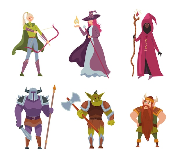 Ilustração de personagens de desenhos animados de fantasia