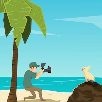 Ilustração de personagens de desenhos animados de pássaro e fotógrafo