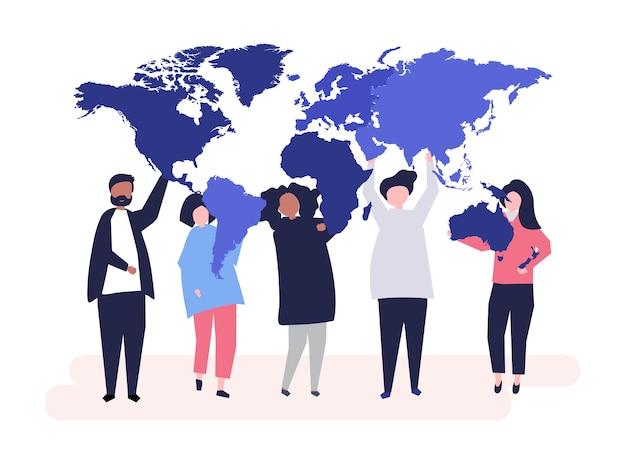 Ilustração de personagens de diversas pessoas e do mundo