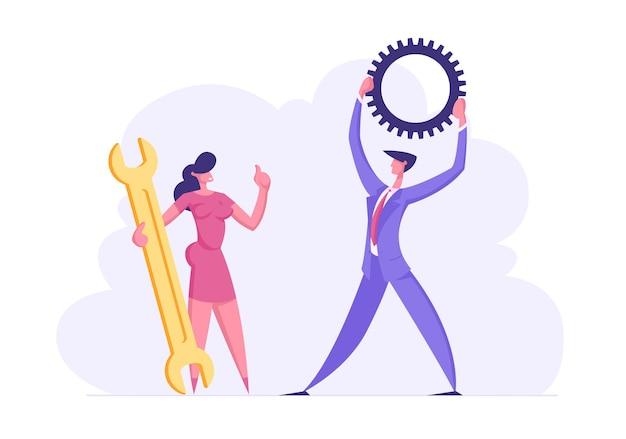 Ilustração de personagens de executivos em trabalho em equipe