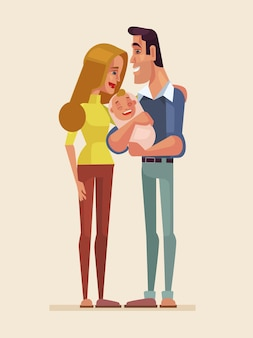 Ilustração de personagens de família feliz